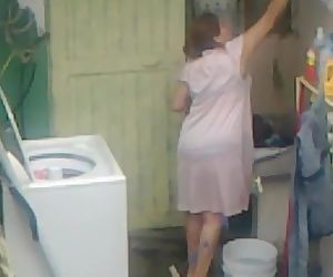 Spying Aunty Ass Washing .....